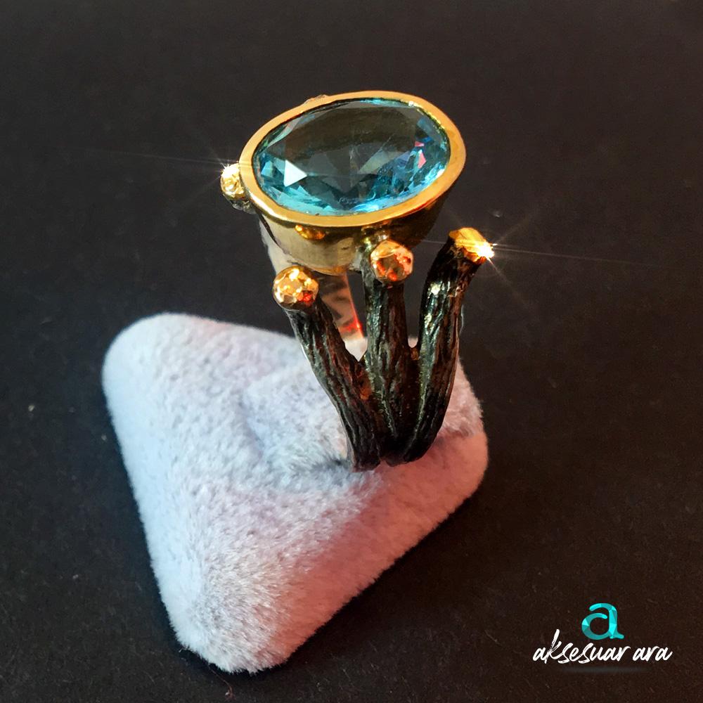 Doğal Aquamarine Taşlı El Yapımı 925 Gümüş Yüzük - Özel Tasarım | ID00136