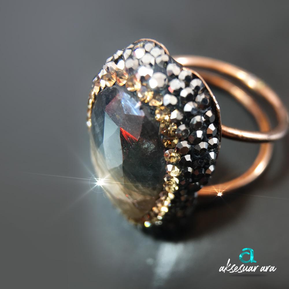 Akik Kalsedon Doğal Taşlı 925 Ayar Gümüş Yüzük| ID00140