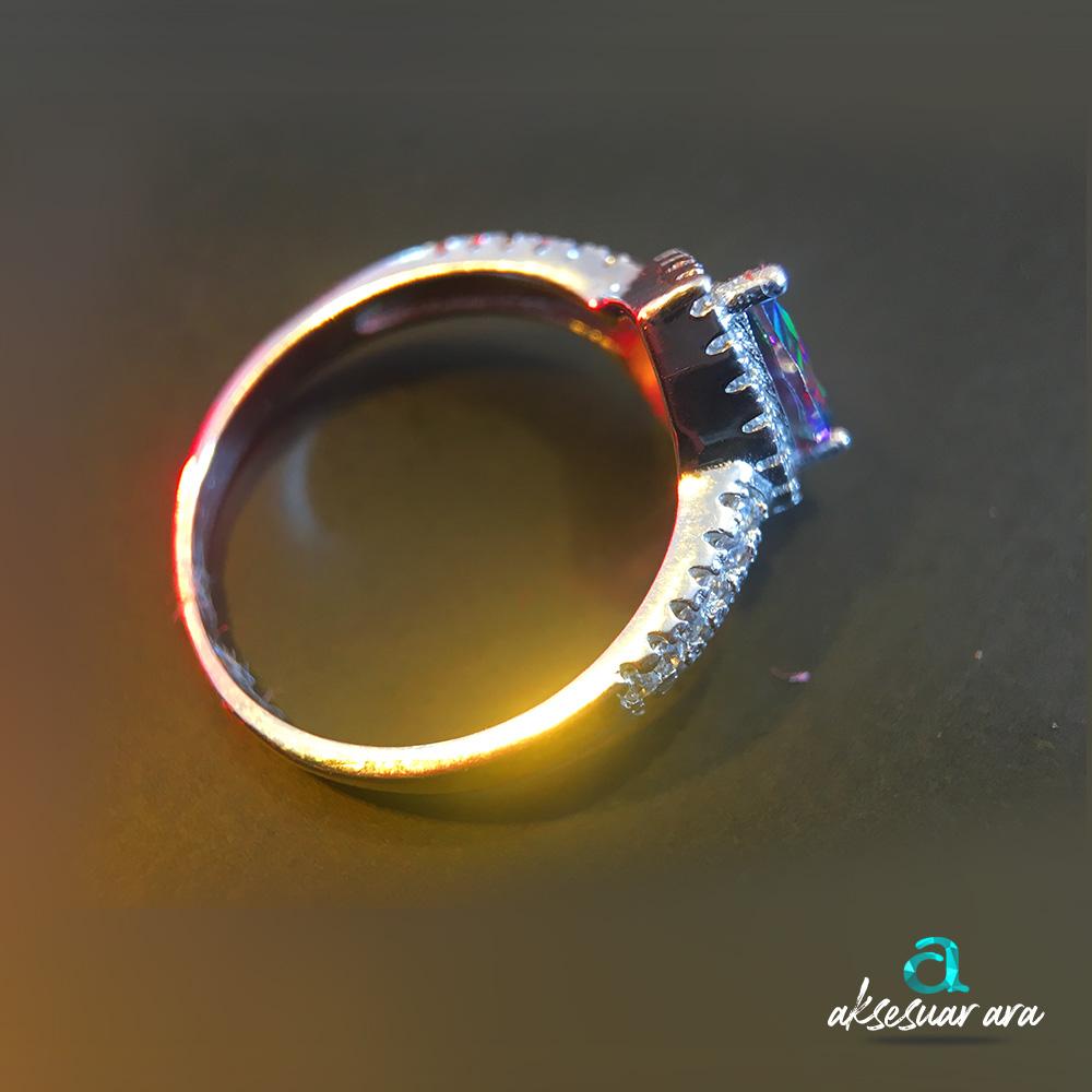 Mistik Topaz Doğal Taş 925 Ayar Gümüş Yüzük | ID00141