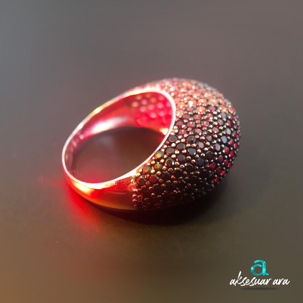 Zirkon Renkli Taşlı 925 Ayar Gümüş Tasarım Yüzük | ID00142
