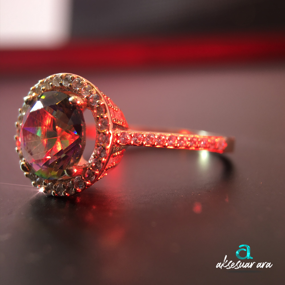 Mistik Topaz Doğal Taşlı, Zirkon İşlemeli 925 Ayar Gümüş Yüzük | ID00143