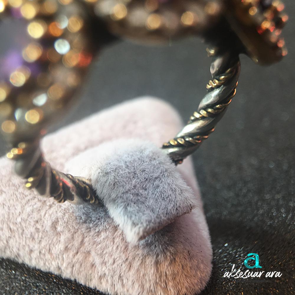 3 Ametist Doğal Taşlı, Zirkon İşlemeli, Burgu Detaylı Gümüş  Yüzük | ID00147