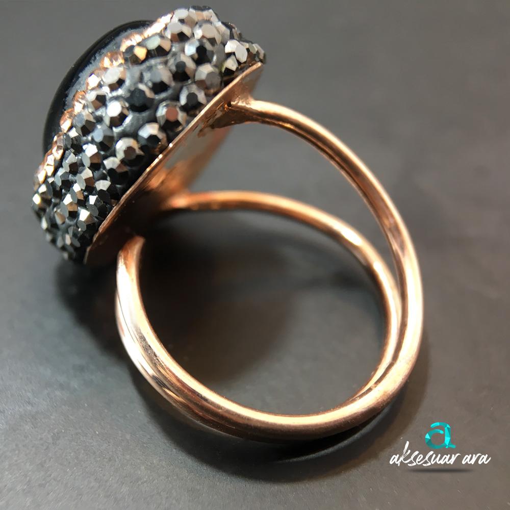 Doğal Oniks Taşlı ve Zirkon İşlemeli 925 Ayar Bayan Gümüş Yüzük| ID00148