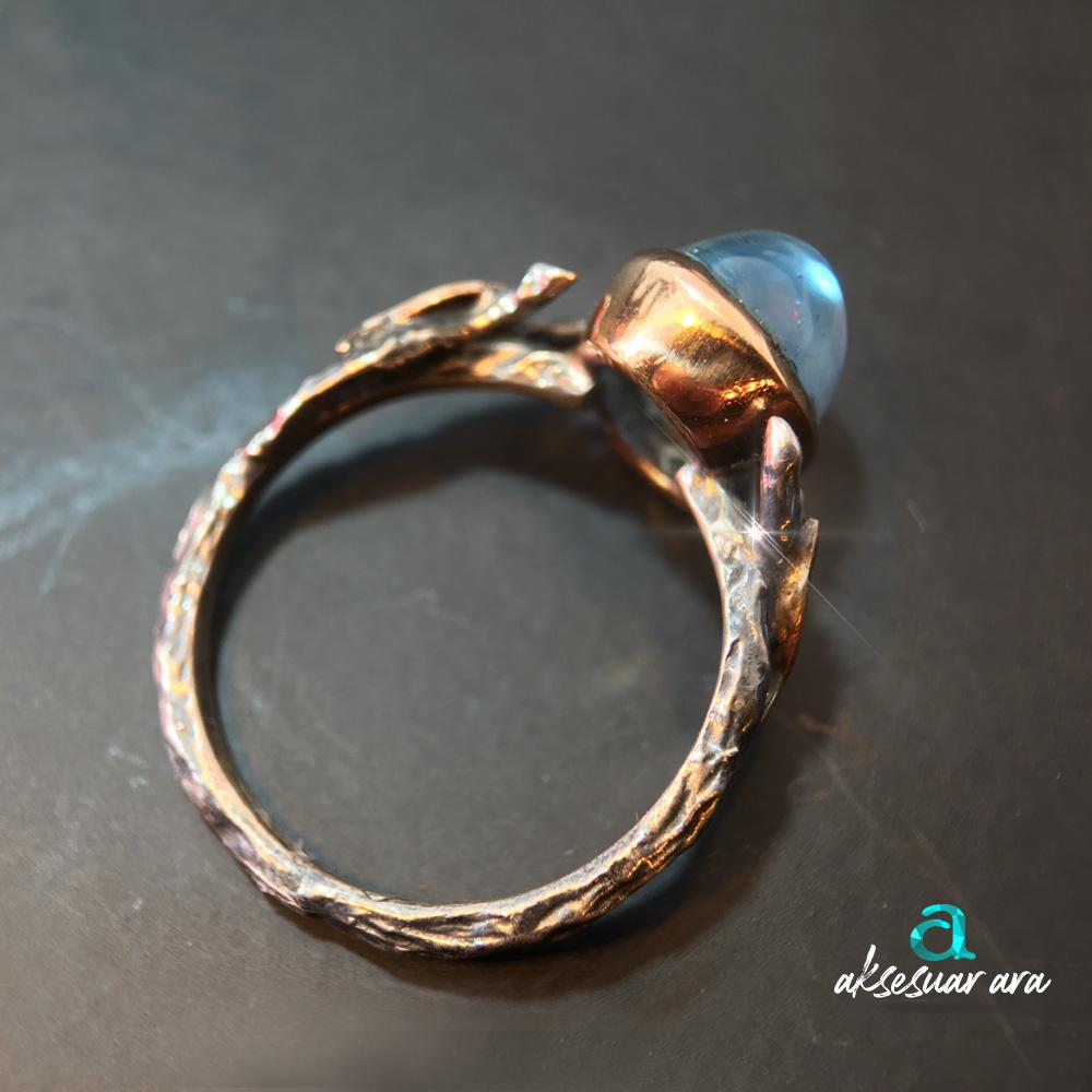 Blue Topaz Eskitme 925 Gümüş Yüzük| ID00151