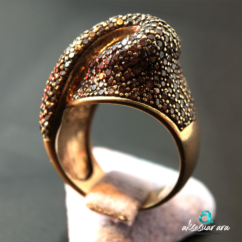 Zirkon Renkli Taşlı 925 Ayar Gümüş Tasarım Yüzük | ID00152