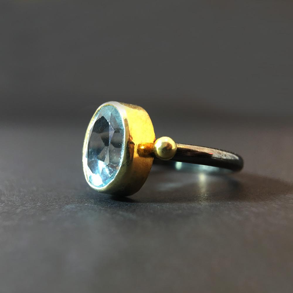 Aquamarin Doğal Taşlı Siyah Sarı Eskitme 925 Ayar Gümüş Yüzük | ID00153