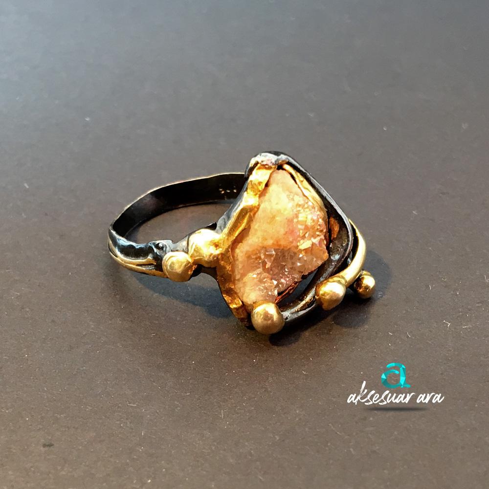 Druzy Kalsedon Taşlı 925 Ayar Gümüş Tasarım Yüzük | ID00154