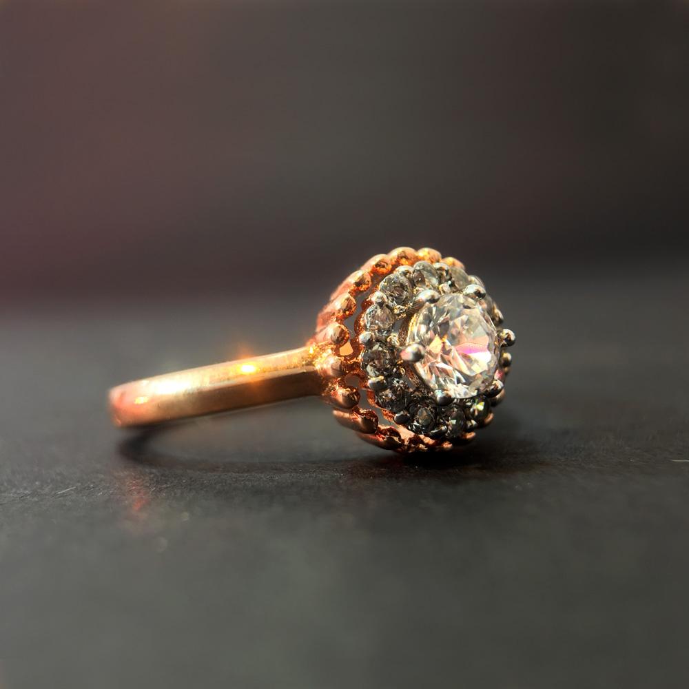 Zirkon Doğal Taşlı Bronz 925 Ayar Gümüş Yüzük | ID00156