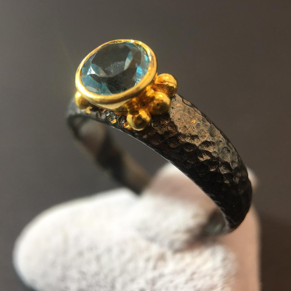 Aquamarin Siyah 925 Ayar Gümüş Yüzük | ID00157
