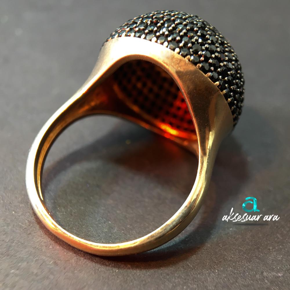 Siyah Zirkon Yuvarlak 925 Ayar Gümüş Tasarım Yüzük | ID00158