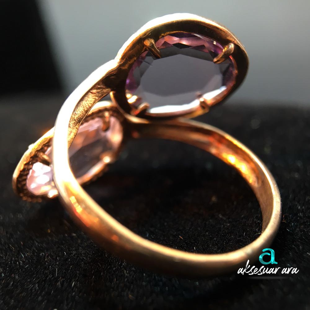 İkiz Pembe Kuvars Doğal Taşlı 925 Ayar Gümüş Yüzük | ID00159
