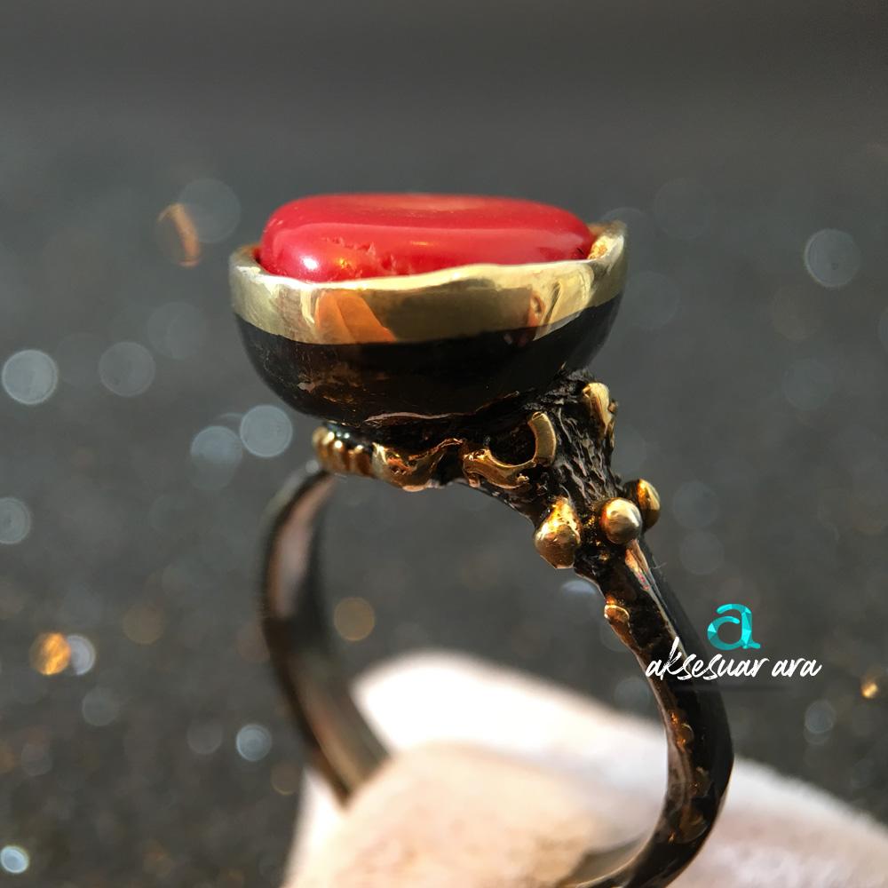Mercan Doğal Taşlı Bohem Siyah 925 Ayar Gümüş Yüzük | ID00162