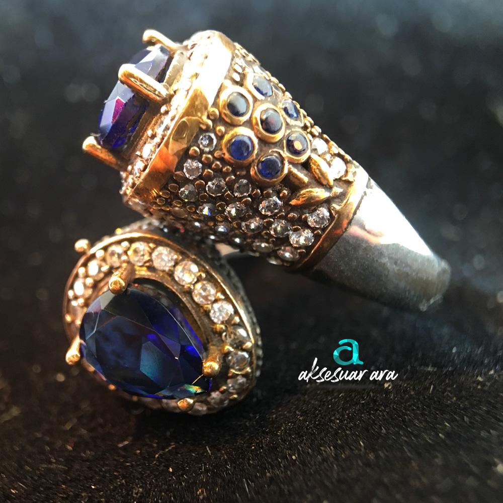 Mavi Akik Doğal Taş 925 Ayar Gümüş Tasarım Yüzük | ID00163