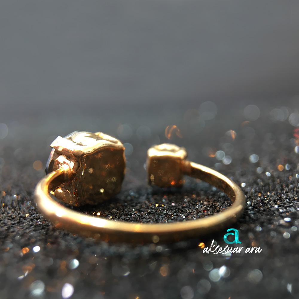 Twin Kalsedon Doğal Taşlı 925 Ayar Gümüş Yüzük | ID00166
