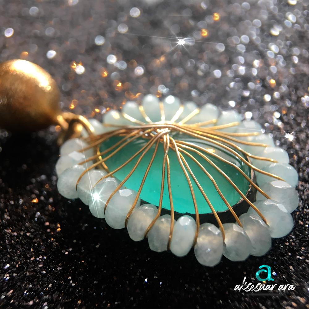 Yeşil Akik Doğal Taşlı El Yapımı 925 Ayar Gümüş Küpe | ID00168
