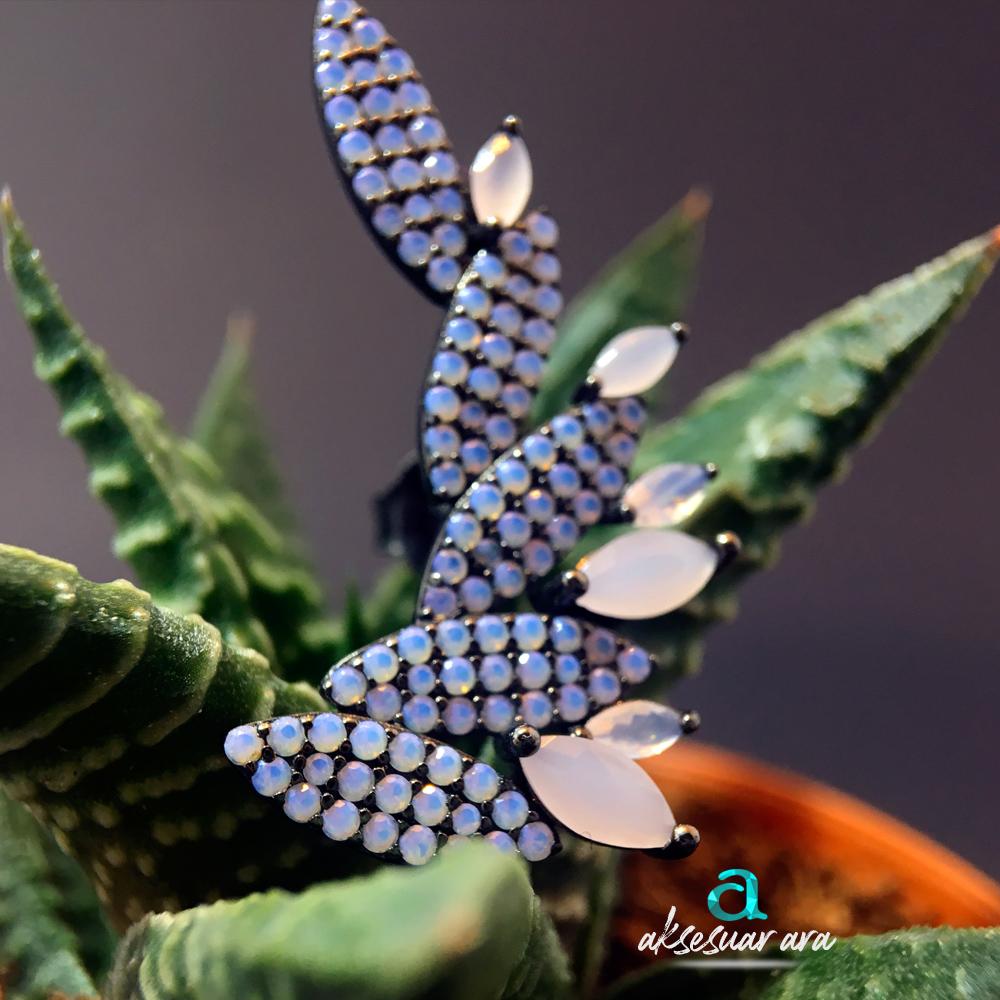 Pembe Kuvars Doğal Taşlı Tasarım 925 Ayar Gümüş Küpe | ID00174