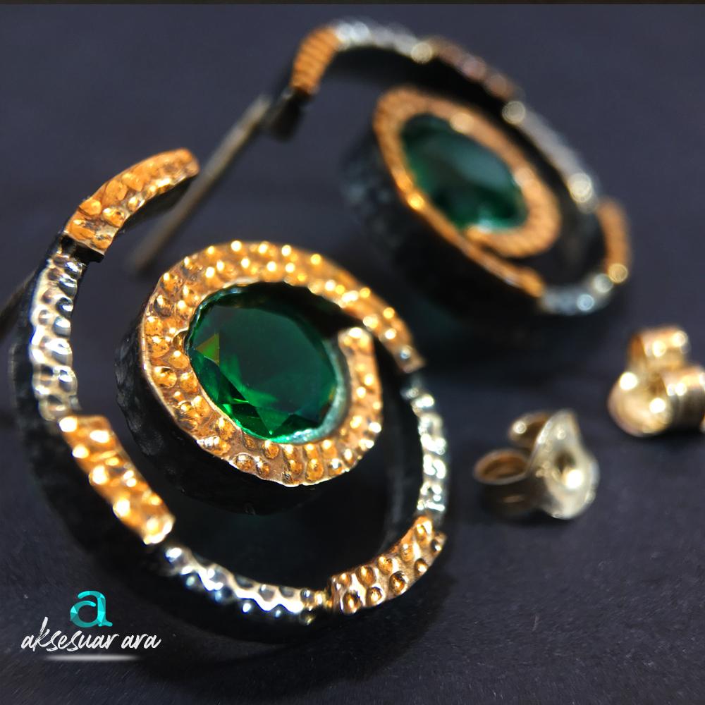 Yeşil Akik Doğal Taşlı Tasarım Eskitme 925 Ayar Gümüş Küpe | ID00178
