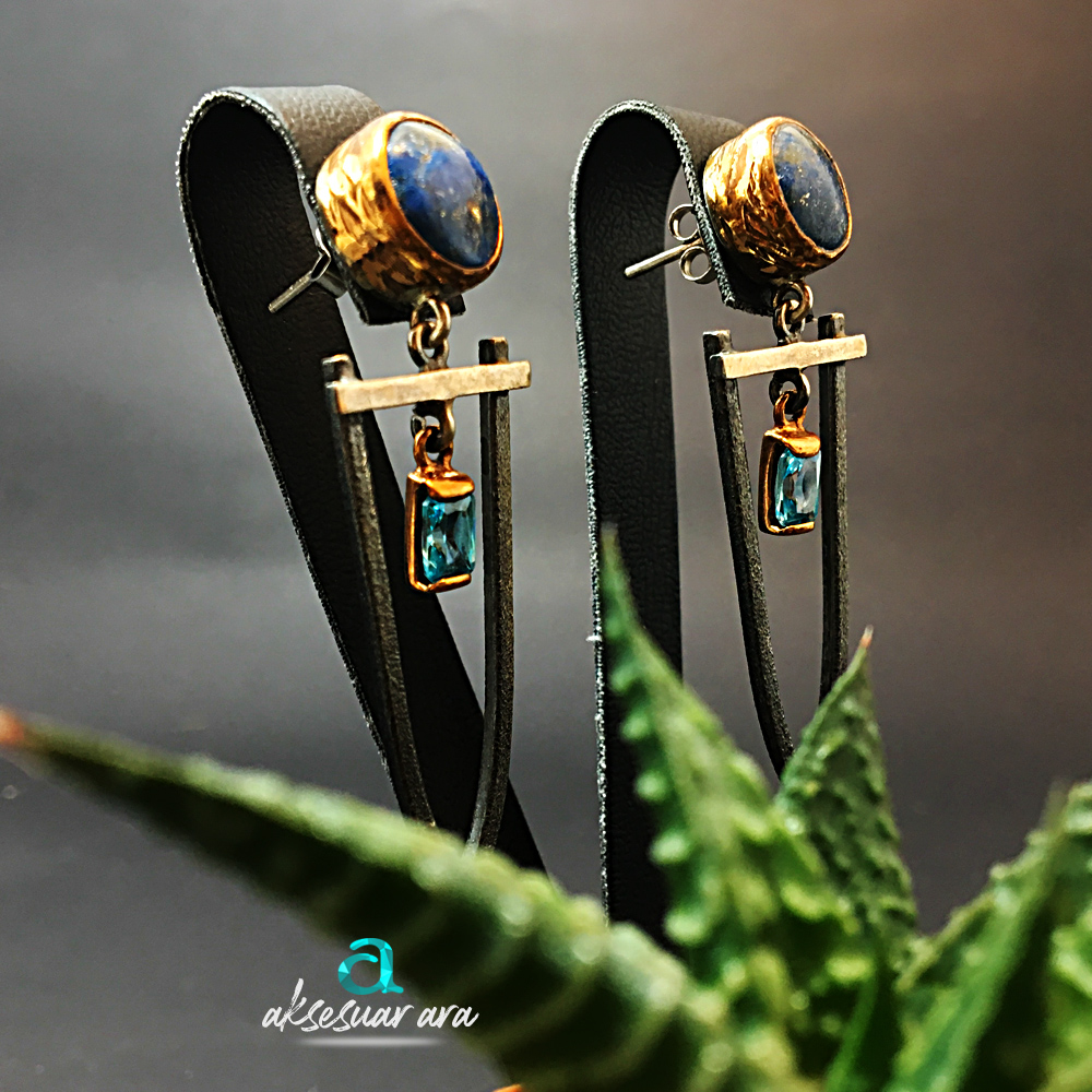 Lapis Lazuli ve Aquamarin Doğal Taşlı El Yapımı Tasarım 925 Ayar Gümüş Küpe | ID00179