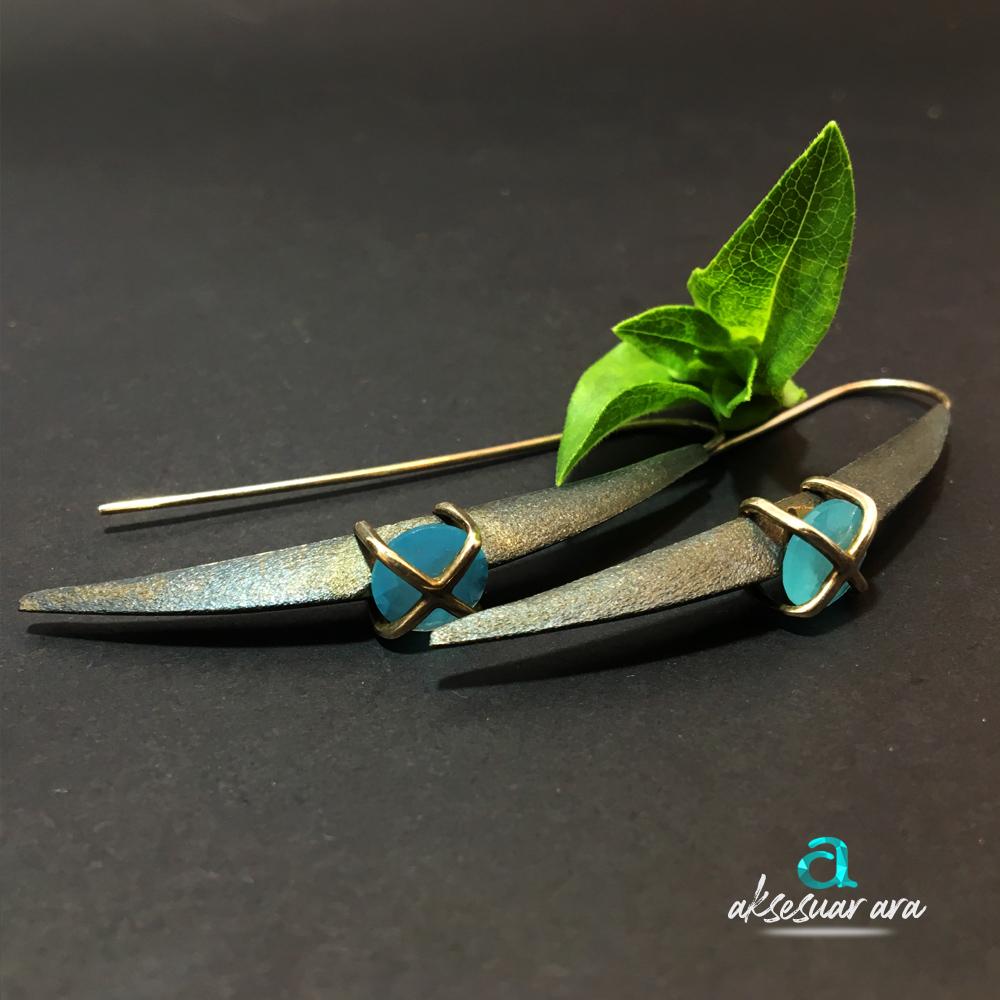 Aquamarin Doğal Taşlı Tasarım 925 Ayar Gümüş Küpe| ID00180