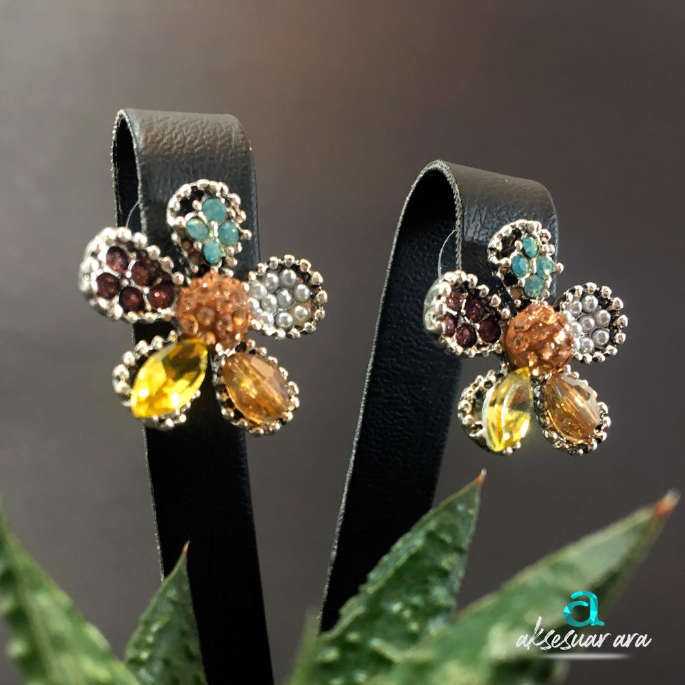 Çiçek Taşlı Kadın Küpe | ID00188