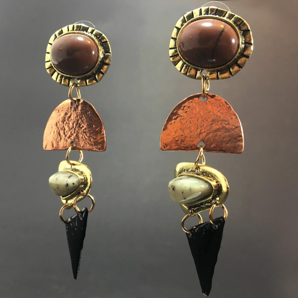 Bronz Eskitme Tasarım Kadın Küpe | ID00191