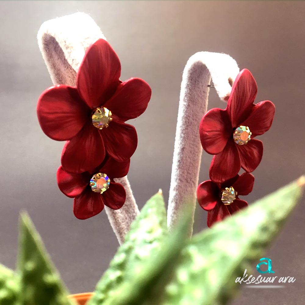 Mürdüm Çiçekler Kadın Küpe | ID00203