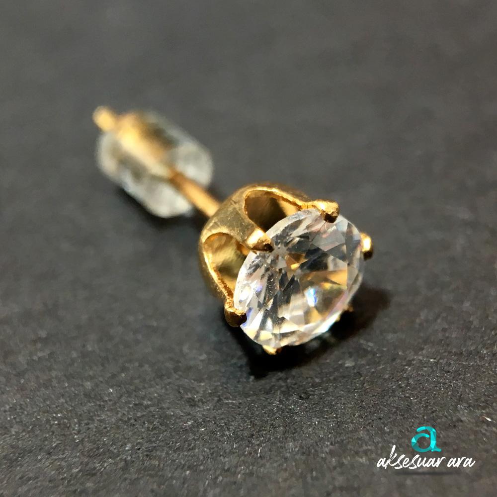 Mini Tek Taş Gold Bayan Küpe | ID00211