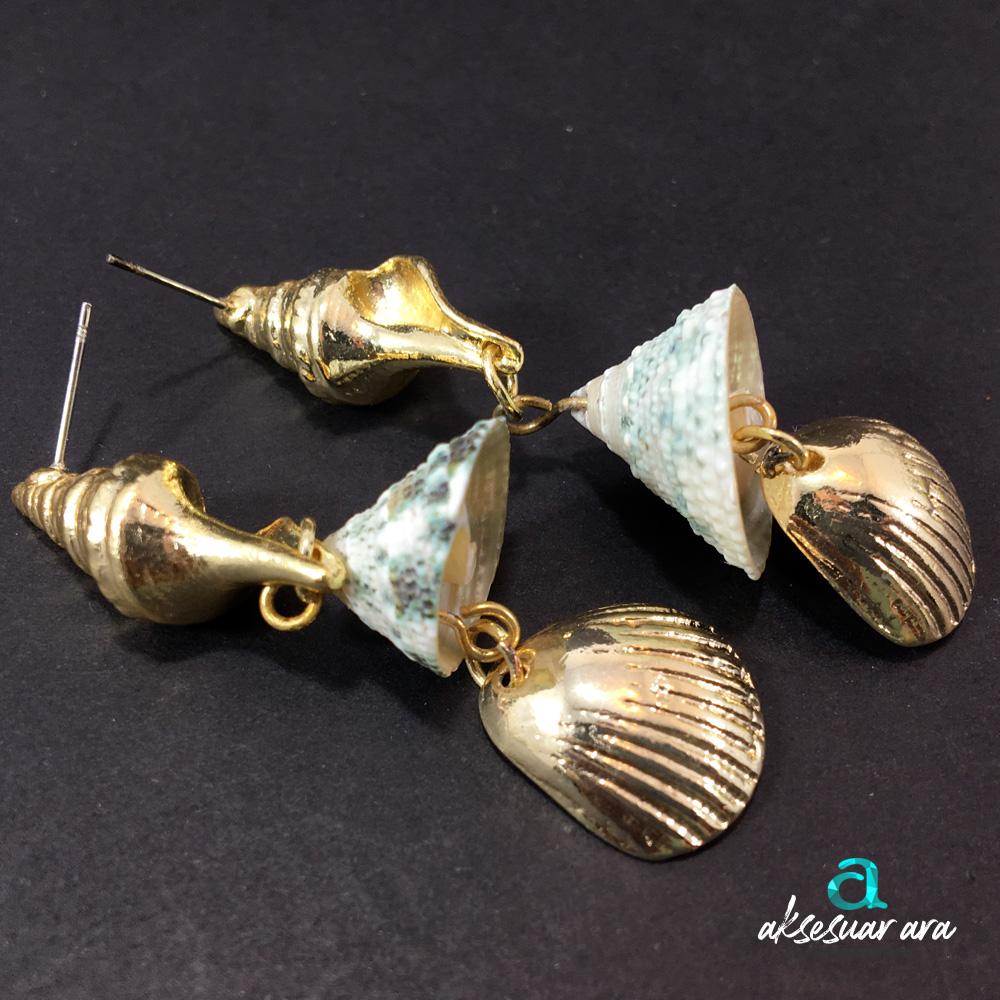 Üçlü Deniz Kabuğu Bayan Küpe | ID00212