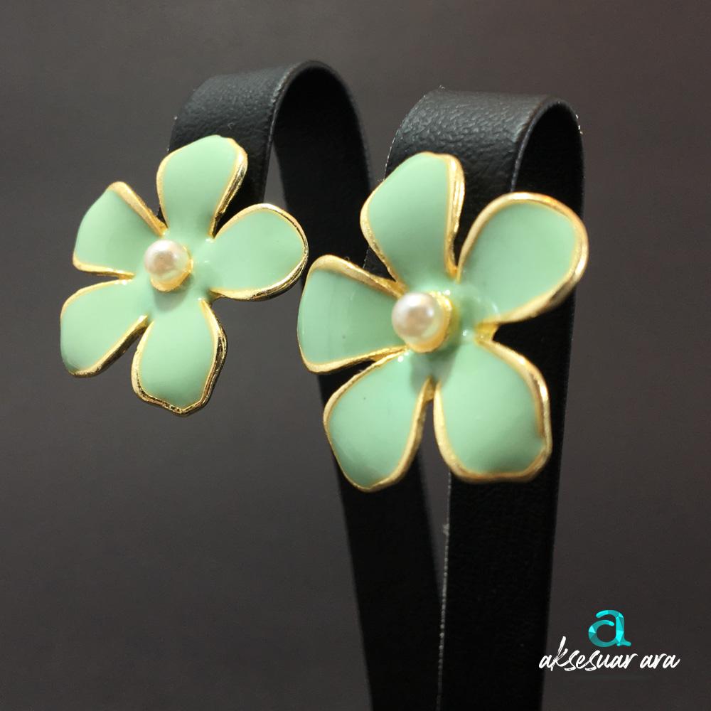 Su Yeşili Çiçek Bayan Küpe | ID00215