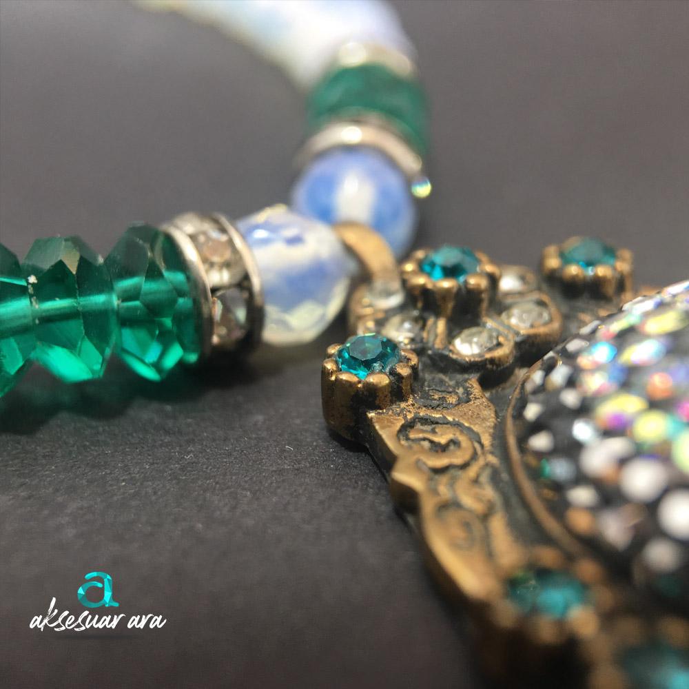 Elegance Opal Doğal Taşlı 925 Ayar Gümüş Tasarım Bayan Kolye  | ID00223