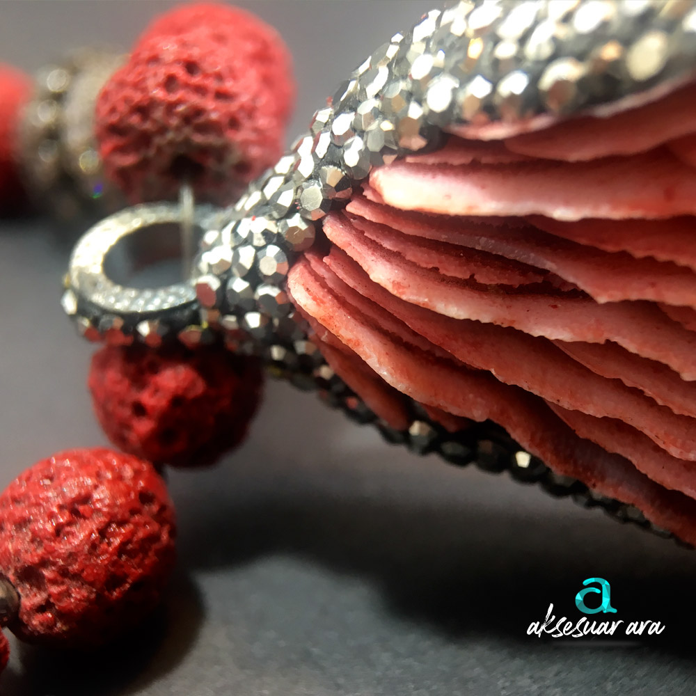 Mercan & Lav Doğal Taşlı 925 Ayar Gümüş Tasarım Bayan Kolye | ID00224