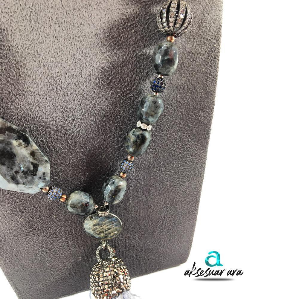 Modern Labradorit Doğal Taşlı 925 Ayar Gümüş Tasarım Bayan Kolye | ID00227