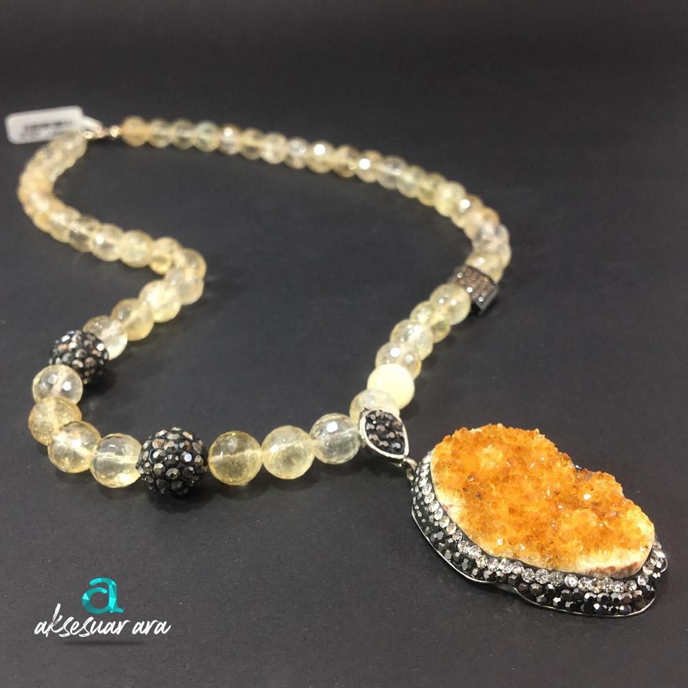 Bonheur Sitrin Doğal Taşlı 925 Ayar Gümüş Tasarım Bayan Kolye | ID00228