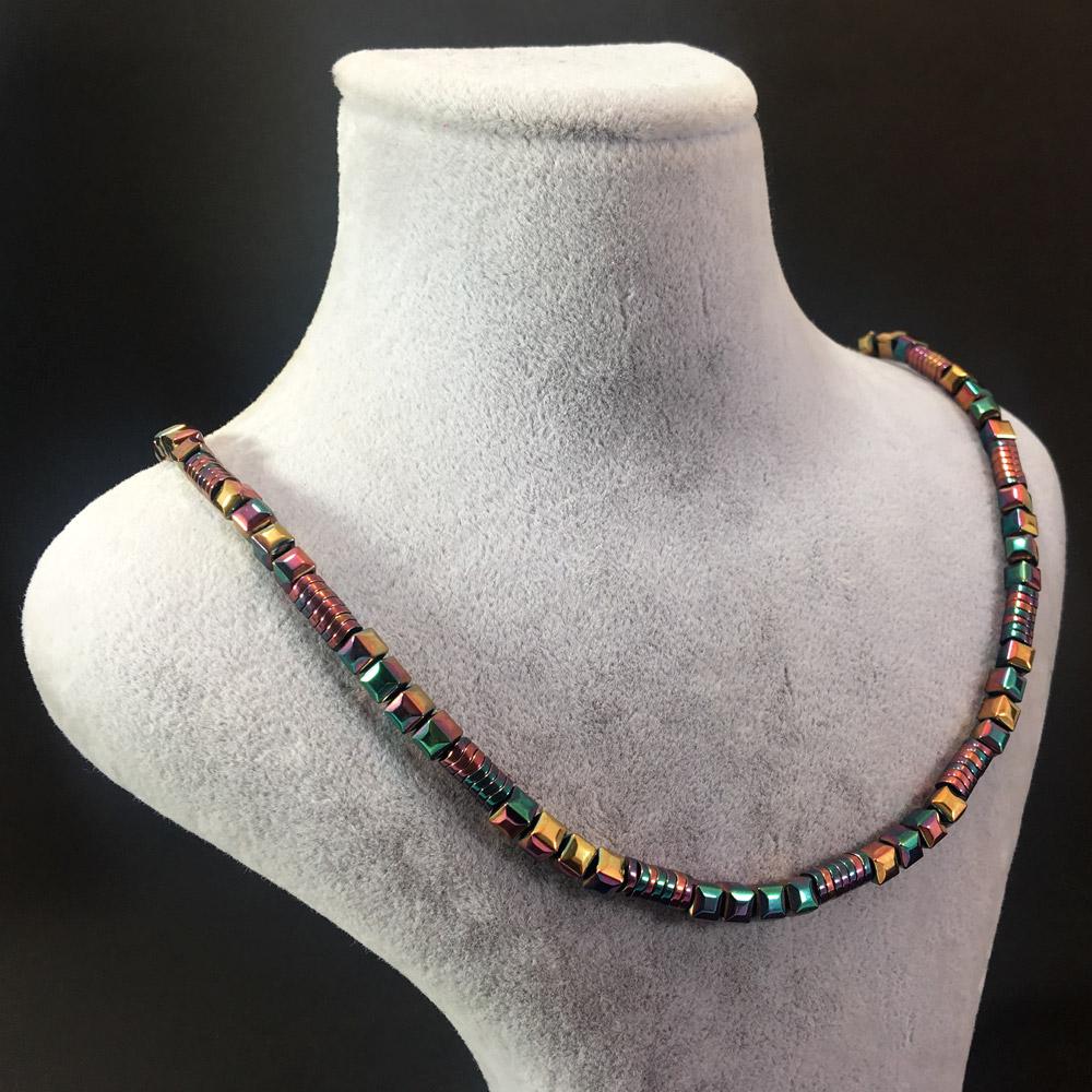 Helene Renkli Hematit Doğal Taşlı 925 Ayar Gümüş Tasarım Bayan Kolye | ID00231