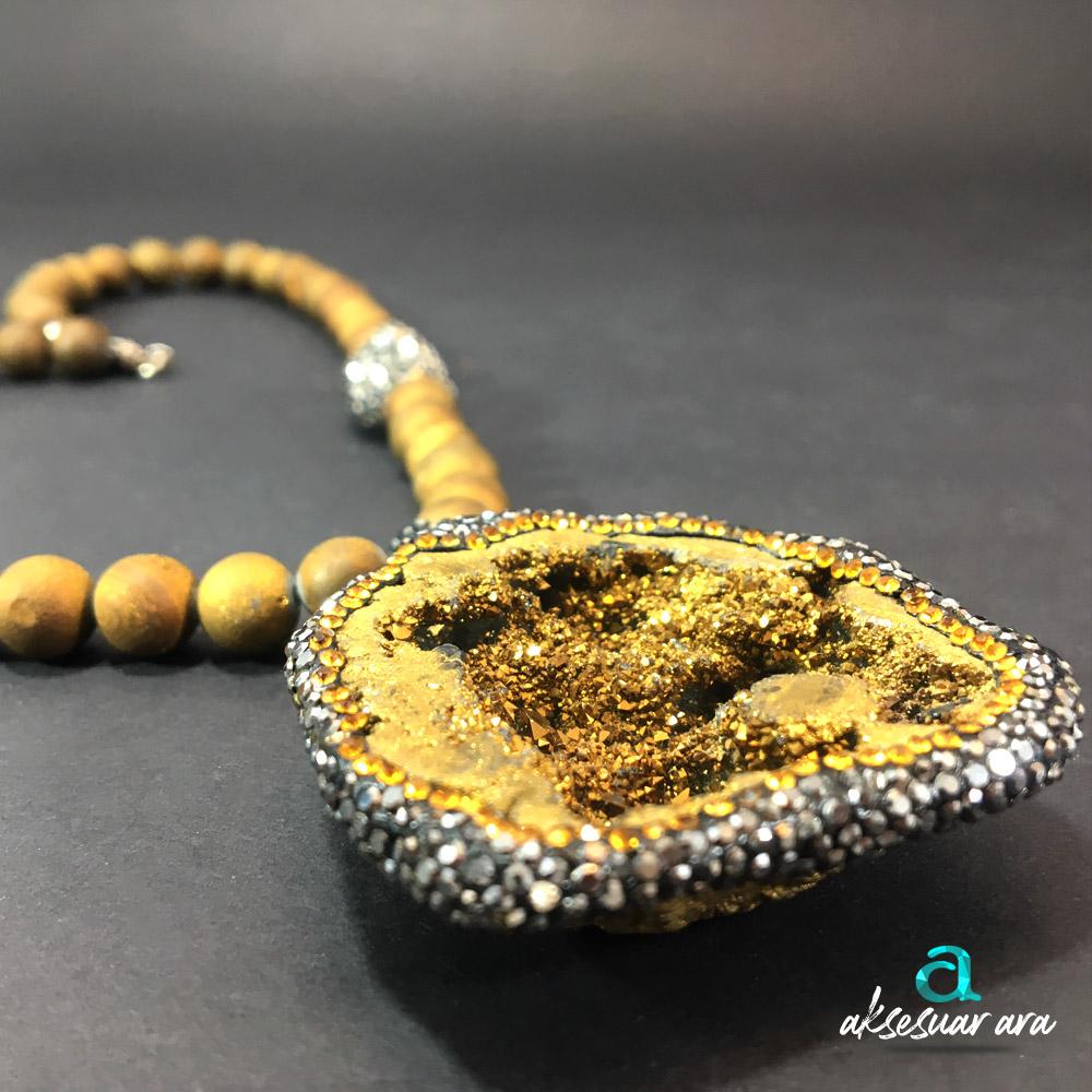 Lüks Druzy Kalsedon Doğal Taşlı 925 Ayar Gümüş Tasarım Bayan Kolye | ID00234