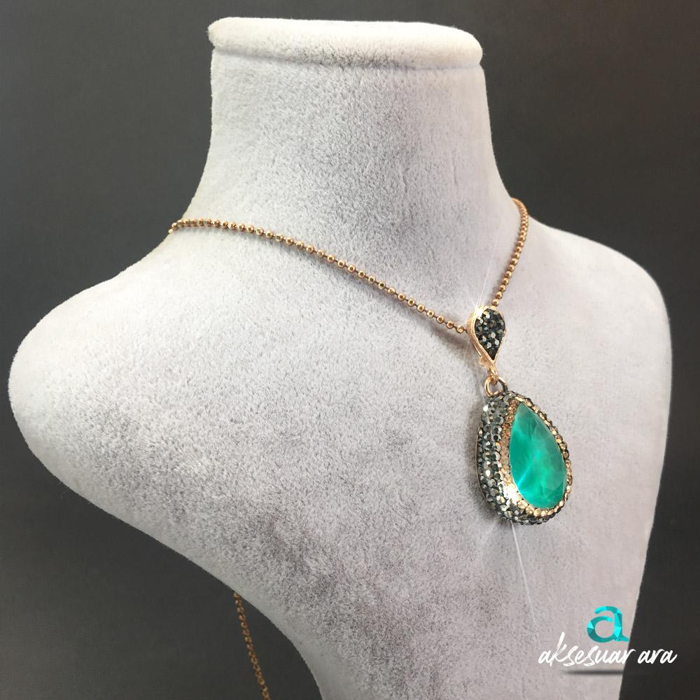Su Damlası Yeşil Akik Doğal Taşlı 925 Ayar Gümüş Tasarım Bayan Kolye | ID00235
