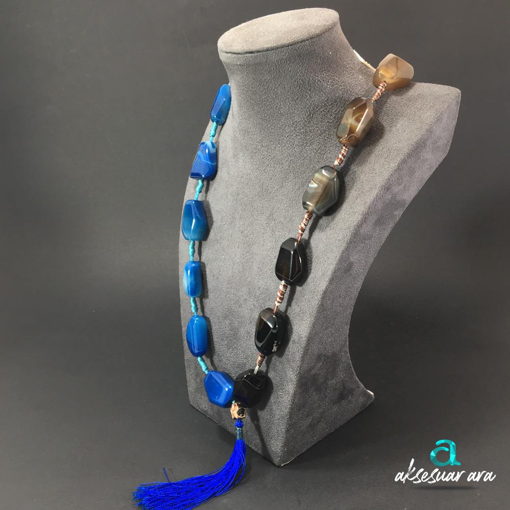 Blue&Brown Akik Doğal Taşlı 925 Ayar Gümüş Tasarım Bayan Kolye | ID00236