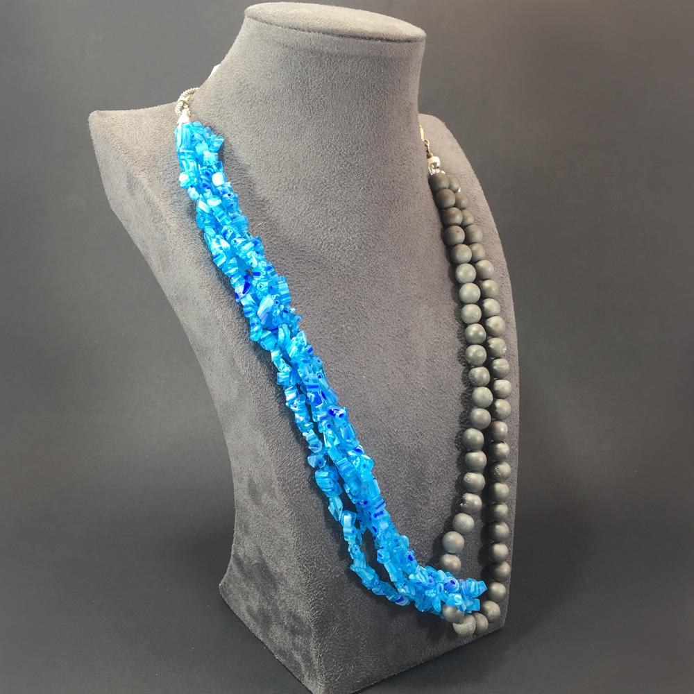 Journey Druzy-Kalsedon Doğal Taşlı 925 Ayar Gümüş Tasarım Bayan Kolye | ID00237