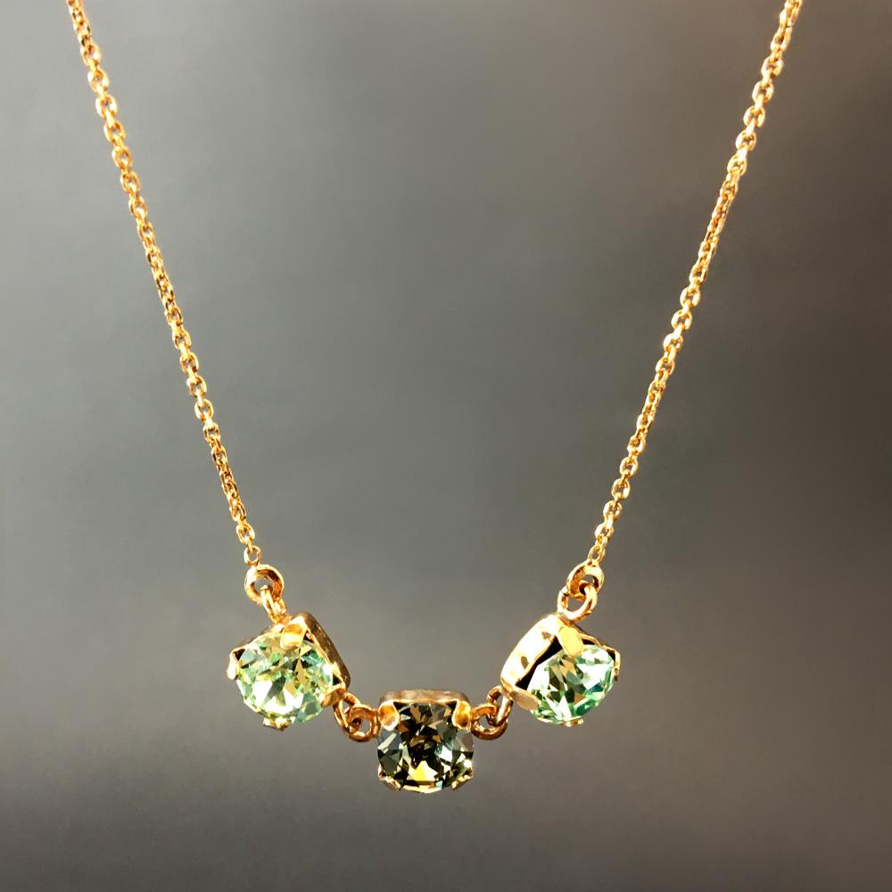 Tria Aqua Verde Aquamarin Doğal Taşlı 925 Ayar Gümüş Tasarım Bayan Kolye | ID00239