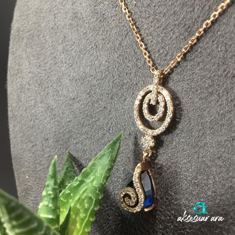 Sultan Mavi Akik Doğal Taşlı 925 Ayar Gümüş Tasarım Bayan Kolye | ID00241