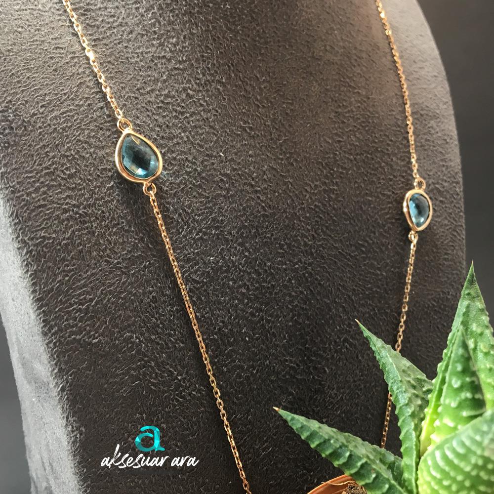 Roma Ametist & Aquamarin Doğal Taşlı 925 Ayar Gümüş Tasarım Bayan Kolye | ID00243