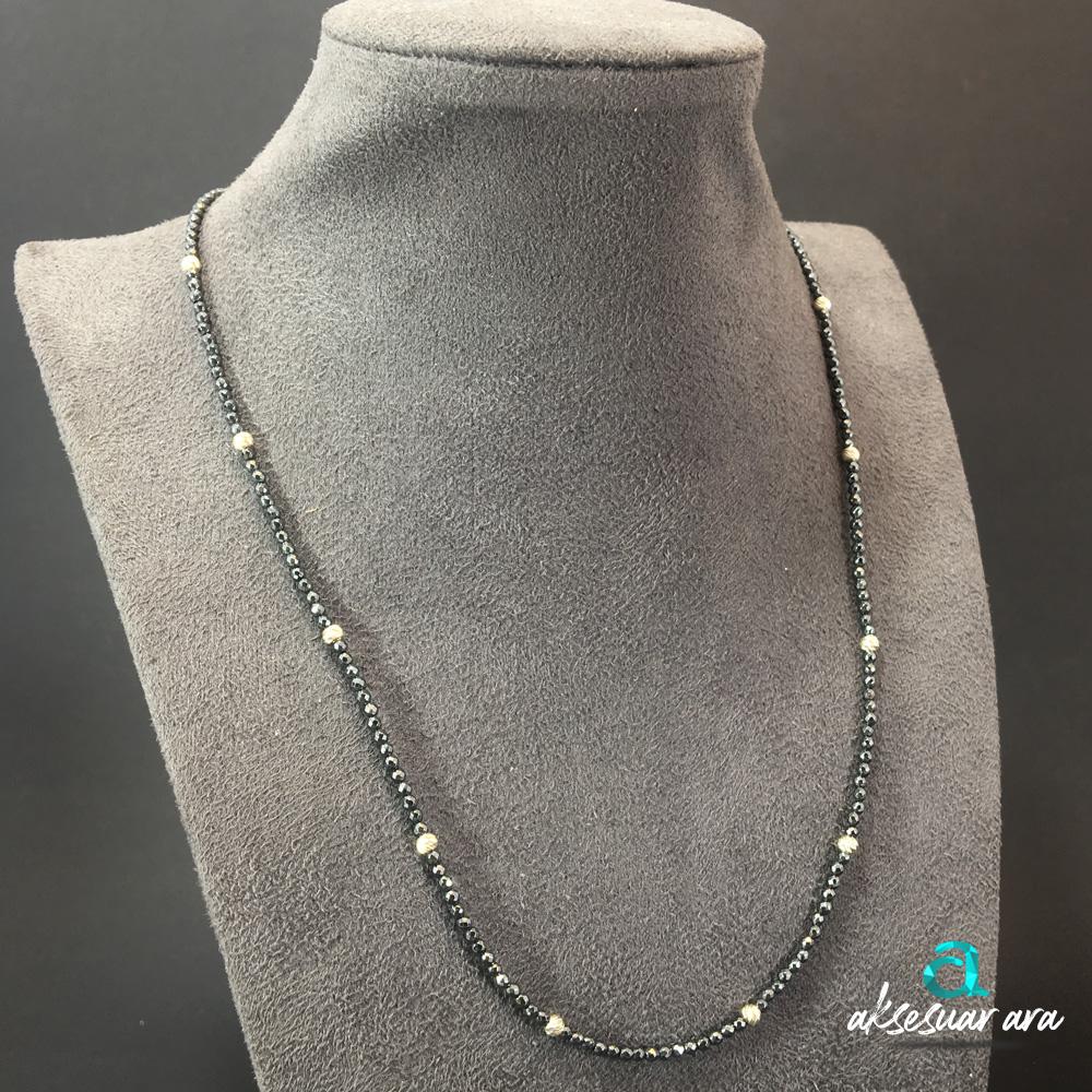 Simple Hematit Doğal Taşlı 925 Ayar Gümüş Tasarım Bayan Kolye | ID00244