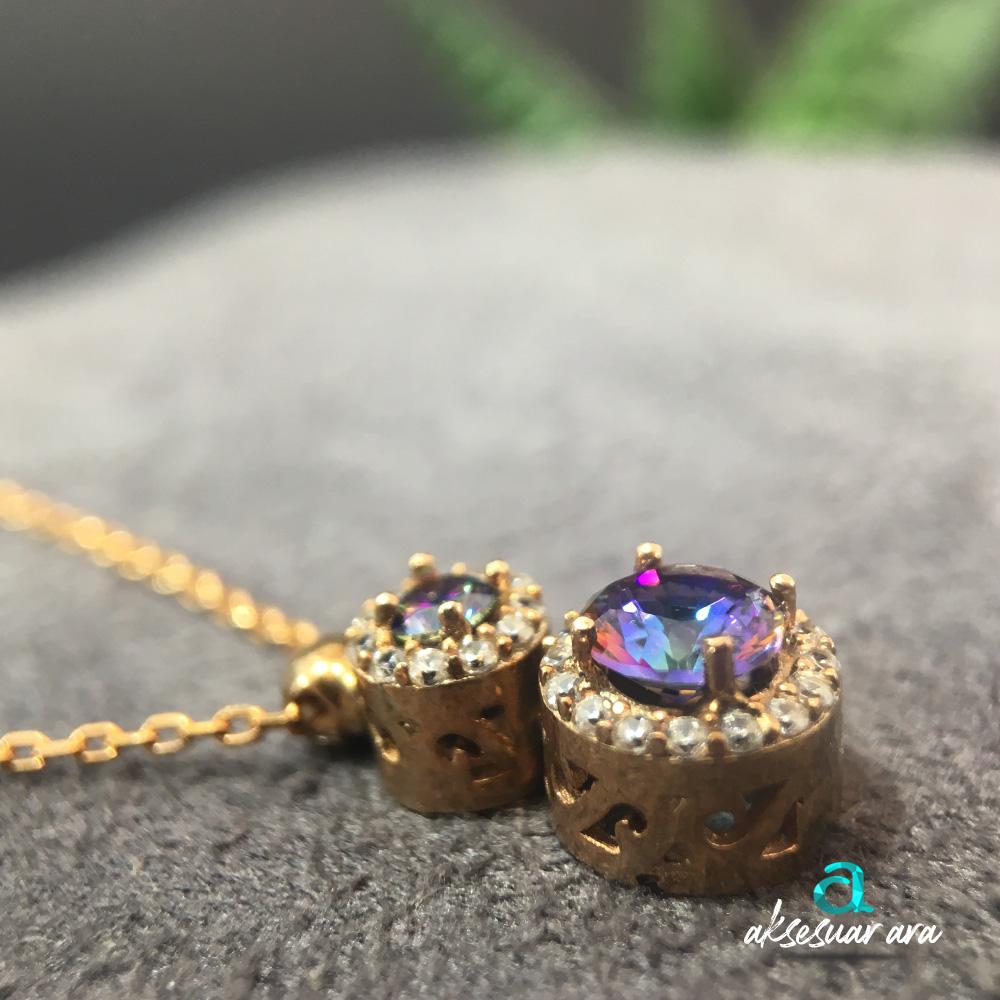 Nice Mistik Topaz Doğal Taşlı 925 Ayar Gümüş Tasarım Bayan Kolye | ID00245
