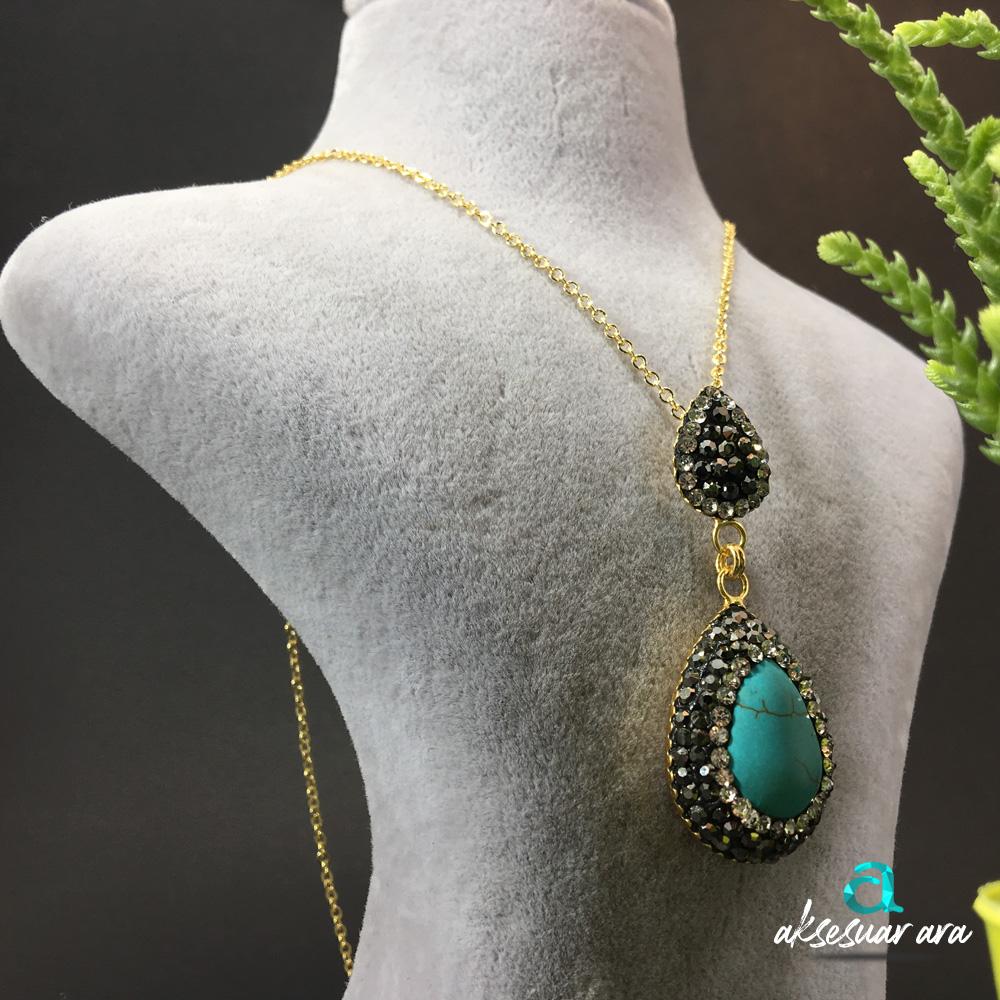 Classe Turkuaz Doğal Taşlı Tasarım Bayan Kolye | ID00249