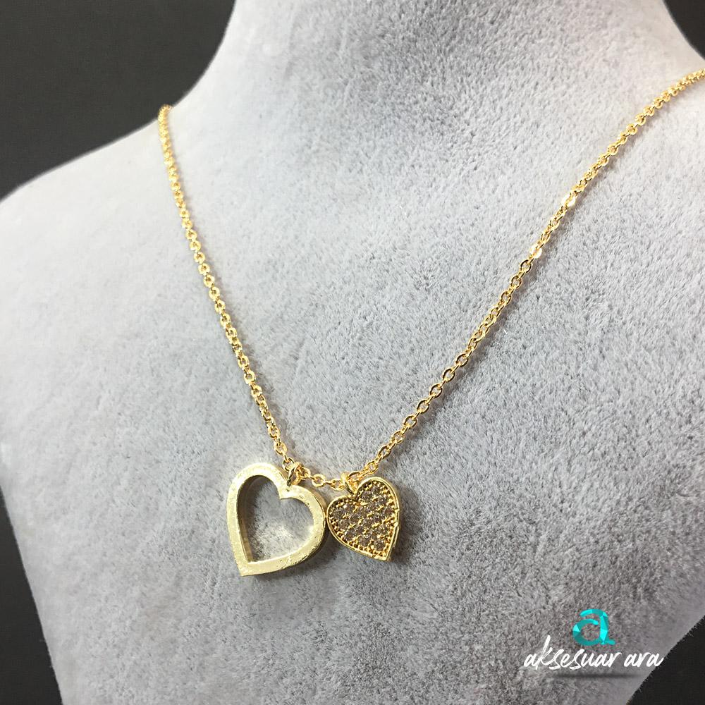 İki Kalp Zirkon Altın Kaplama Bayan Kolye | ID00253