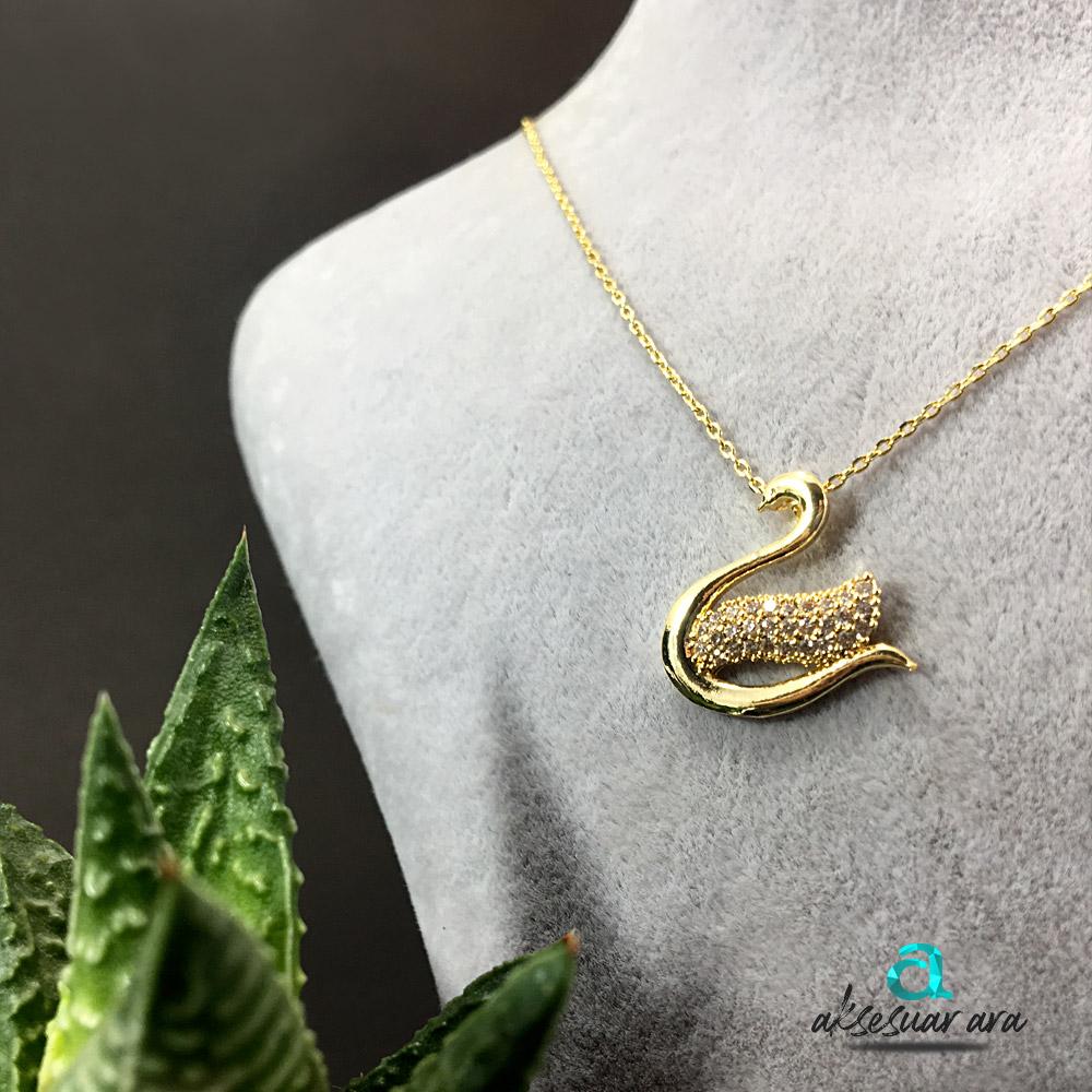 Kuğu Zirkon Altın Kaplama Bayan Kolye | ID00254
