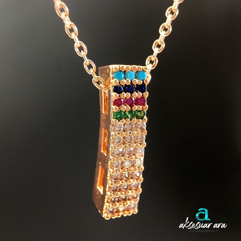Dört Renk Zirkon Altın Kaplama Bayan Kolye | ID00256