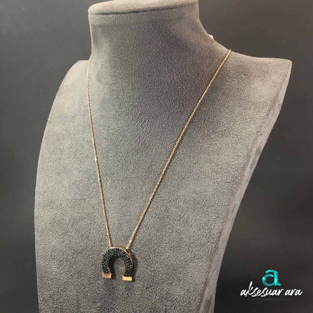 At Nalı Zirkon Doğal Taşlı 925 Ayar Gümüş Tasarım Bayan Kolye | ID00247