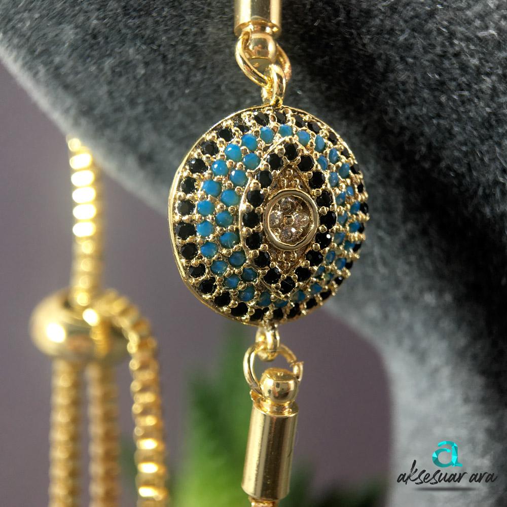 Göz Figürlü Gold Taş İşlemeli Bayan Bileklik| ID00279