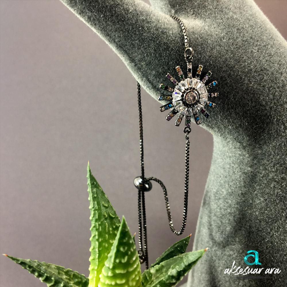 Güneş Figürlü Taş İşlemeli Antrasit Bayan Bileklik| ID00280